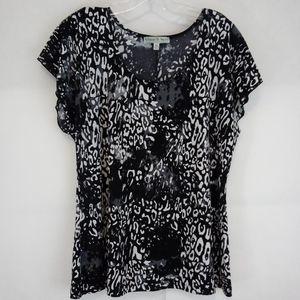 Vintage Suzie Black White Leopard Print Top XL